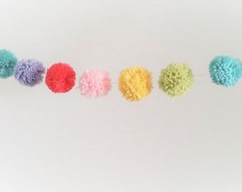 Pastel Rainbow Yarn Pom Pom Garland  | Unicorn Party | Pompoms | Unicorn Birthday Decor | Baby Nursery Decor | Tee Pee Buntings | Garland