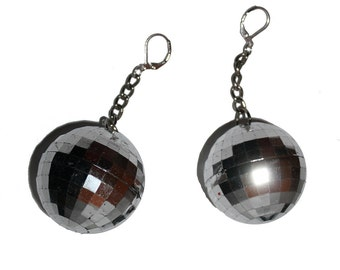 Disco Ball Earrings - new years eve disco ball party Motown earrings - large raver costume diva drag queen earrings party favor disco dance