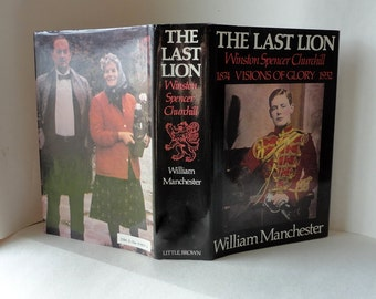 1983 Vintage Book THE LAST LION Winston Spencer Churchill 1874-1932 Visions of Glory William Manchester Hardcover Dust Jacket Black Red