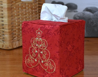 Gold Christmas Tree Tissue Box Cover