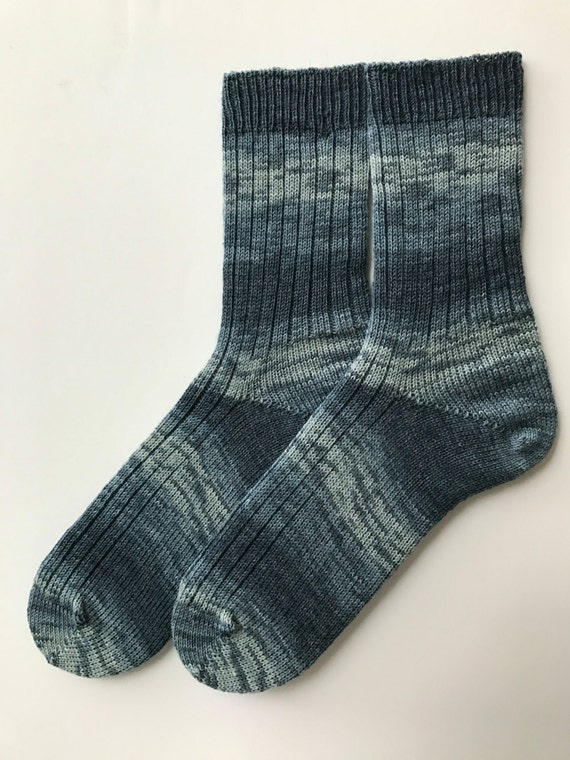 Hand Carnked Socks, Men's, Wool,  Knitted, Opal 20 Jahre, Blue Shades