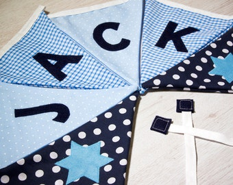 Classic Baby Boy Bunting - Personalised Name Banner - Flags - Nursery Decor