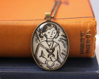 Betsy Tacy book necklace - graduation gift for teacher or librarian - creative book club gift idea - book page jewelry - Mother's Day