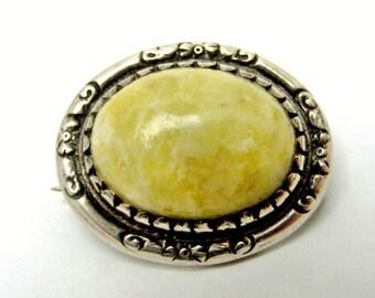 Vintage Connemara or Iona marble silver brooch