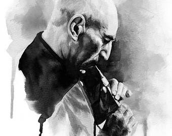 Inner Light - Jean-Luc Picard, black watercolor painting, star trek, the next generation, Patrick Steward, star trek art, sci-fi art