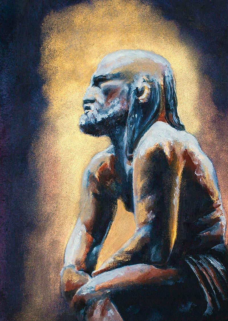 hephaestus watercolor oil paint painting greek god