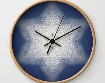 wall clock snowflake of clouds kaleidoscope blue and white mandala mothers day gift christmas gift blank wall clock frei