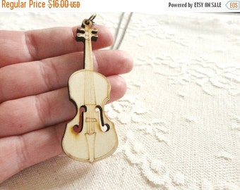 30% OFF CHRISTMAS SALE Wooden cello / violin / viola / guitar pendant necklace, long length, long necklace, music jewelry, Harmony Maker