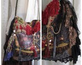 Fringed Gypsy Bag, handmade bohemian bag, slouchy fabric purse, layered laces, black laces, upholstery fabrics, beads buttons embellished