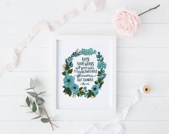 Rumi Wall Art Print, 8x10 ART PRINT ONLY, Home Decor, Inspirational Quote Print, Frameable Art Print, Inspirational Quote, Floral Wreath