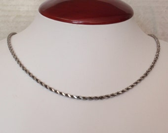 Sterling Rope Chain Antiqued Square Cut 24 Inch 3mm Vintage CW0237