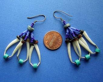 Vintage Native American Dentalia Dentalium Tusk Shell Earrings 1970s Klamath Indian Pacific NW