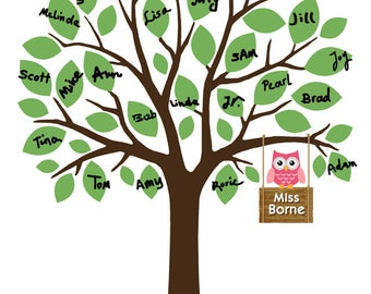 Personalized Teacher Gift, Teacher Appreciation Gift, Teachers Gift, Tree with Owl, Custom Teacher Thank You Gift - DIGITAL PRINTABLE JPEG