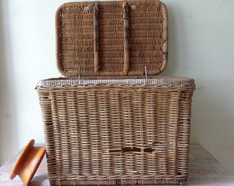 Vintage Fishing Basket with wooden hand line