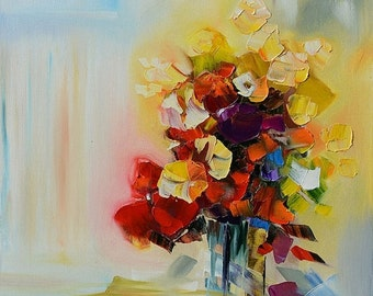 70%Off & Free Shipping ORIGINAL Oil Painting unique style modern painting Textured  Colorful painting Palette Knife flowers painting vase br