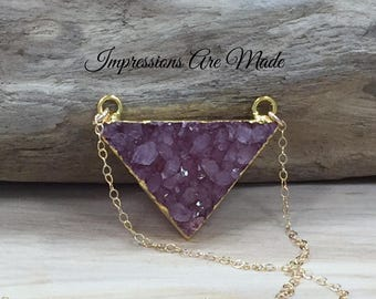 Triangle Necklace, Gold Triangle Necklace, Druzy Necklace, Druzy Triangle Necklace, Gold Necklace, Pink Necklace, Crystal Necklace, Dyed