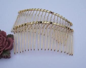 Hair combs, Gold combs, 50pcs metal hair combs, Metal clip Hair Combs (20 teeth) 75x38mm