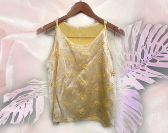 90s Clueless Pastel Yellow Satin Floral Jacquard High Neck Strappy Tank Top size Medium