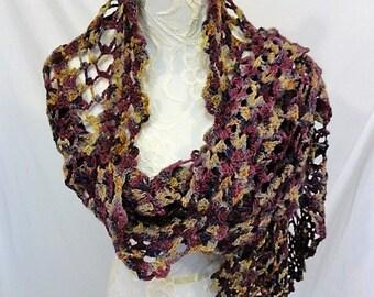 purple tan plum lavender scarf merino wool
