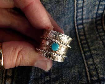 Sterling Silver and Turquoise Spinner Ring size 10.5