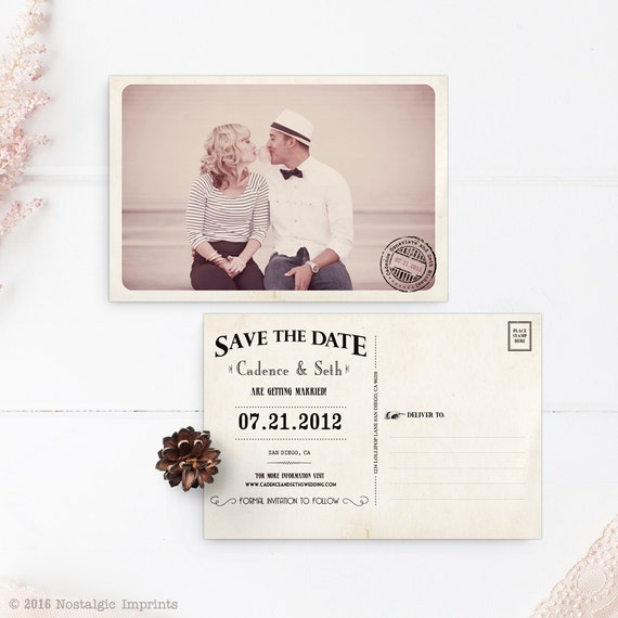 "Save the Date Postcard, 4x6, Save the Date, the ""Cadence"""