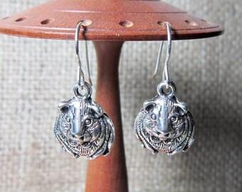 Guinea Pig Dangle Silver Earrings - Cavy Cavies Drops on Sterling Silver Hooks