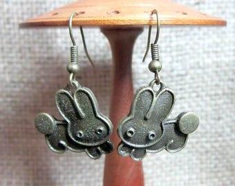 Leaping Cartoon Rabbits Bronze Earrings - Bunny Bunnies dangles
