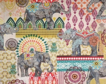 Exotic Suzani Elephant Collage Print Pure Cotton Fabric--BY THE YARD