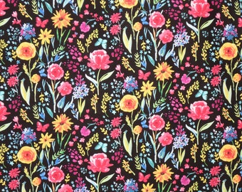 Cheerful Colorful Floral Print in Black Pure Cotton Fabric--by the Yard