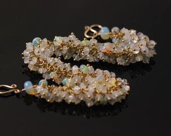Rainbow Moonstone Ethiopian Opal Cluster Bracelet, 14k Gold Filled, Vermeil, June October Birthstone, Birdal Wedding, Icy Transluscent
