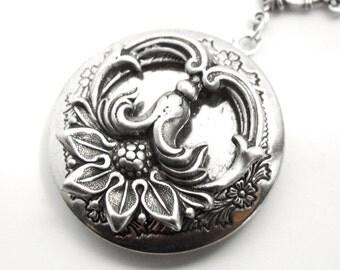 Sunflower locket, Victorian pendant, Art Nouveau jewelry, silver locket, flower pendant, silver flower, keepsake jewellery