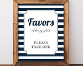 Favors Please Take One Sign, Navy & White Stripe Baby Shower Favor Sign, Silver Glitter, 2 Sizes, DIY Printable, INSTANT DOWNLOAD