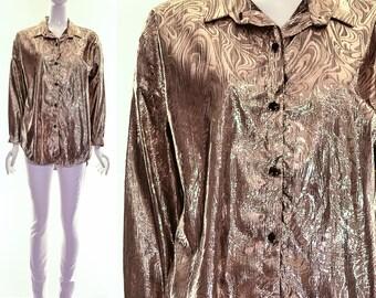 gold gasoline metallic lurex button down blouse oversized minimalist art print top medium large