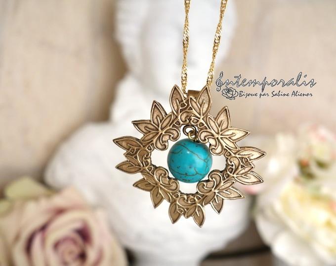 Bronze pendant, turquoise, OOAK, SAPE08