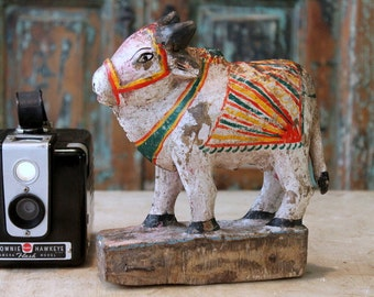 Nandi Cow Painted Carved Cow Indian Vintage Carved Toy Religious Art Rajasthan Hindu Folk Art Cow Art