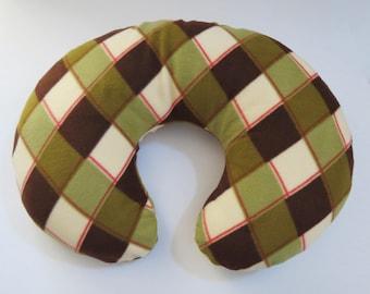 Christmas Diamond Plaid fleece Boppy or nursing pillow cover
