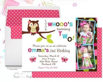 Girls Owl Birthday Invitation, Girls Owl Party Invitation, Owl Party Invite, Owl Invitation, 1st Birthday Invitation, Girls Birthday Invite