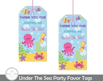 Under The Sea Favor Tags, Under The Sea Gift Tags, Under The Sea Birthday, Under The Sea Party, Nautical Birthday, Girls Under The Sea Party