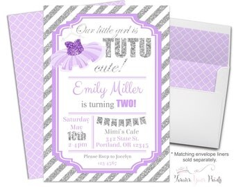 Tutu Birthday Invitation - Tutu Birthday Invite -  Tutu Party Invitation - Tutu Party Invite - Tutu Invitation - Tutu Invite - Ballerina