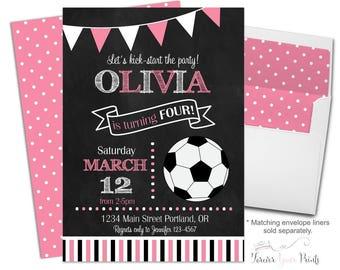Soccer Birthday Invitations - Soccer Party Invitations Girl - Soccer Party Invites - Girls Soccer Invitation - Football Invitation Girl