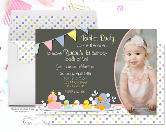 Rubber Duck Birthday Invitation - Rubber Duck Party Invitation - Duck Birthday Invites - Duck Party Invites - Birthday Invitation Girl