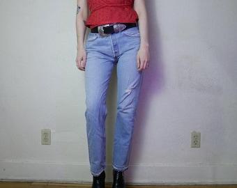 perfect 90s Boyfriend denim Levi's 501s pale blue wash listed as a size 31 x 30