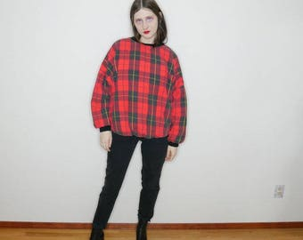 90s red plaid tartan pull over puff sweater size M-L