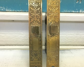 Eastlake Door Lock Hardware Ornate Brass Mortice Antique Vintage at CastawaysHall - READY TO SHIP