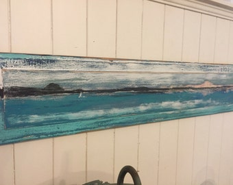 Original Painting Sander - Islands in the Sun - Beach House Art Wall Decor Door Panel Painting - Ready to Ship
