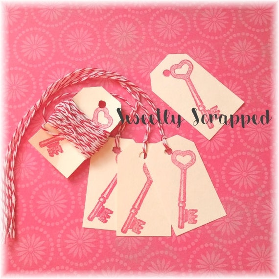 SKELETON KEY Tags .... Red, Valentine, Key To My Heart, Small, Labels, DIY, Packaging, Pink, Cream, Craft Supplies, Bakers twine