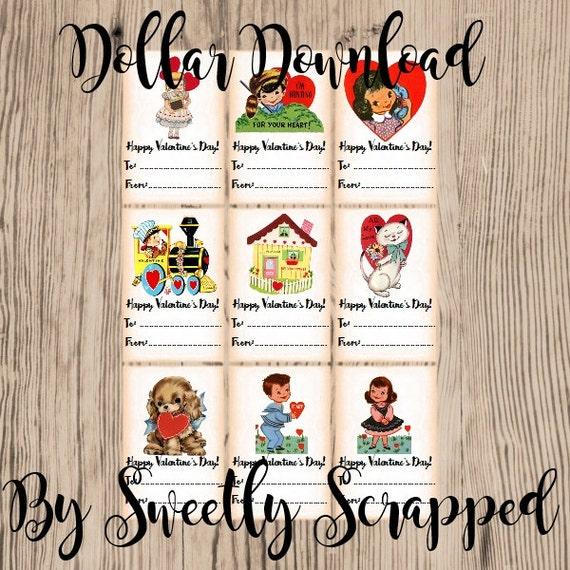 PRINTABLE Valentine's, DIY, Vintage, Cards, School, Valentine Card, Small, Instant Digital Download, Girl, Boy, Class, Variety, Collage