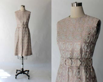 1960s Brocade Cocktail Dress with Pockets // 60s Vintage Jacquard Metallic Pink Formal Party Dress // Medium