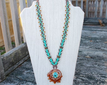 Third Eye Pinecone hemp necklace with Chrysocolla, macrame, micromacrame, turquoise, hippie, sacred geometry, seed of life, naturl