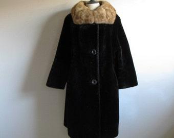 Vintage 1960s Coat Black-Brown Faux Fur Trapeze Real Fur Collar Coat Large